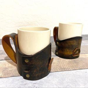 Vintage Leather Coffee Mug Holder   Set of 2